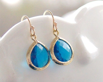 Capri Blue Drop Earrings in Gold - Gold FIlled Earwire - Blue Drop Earrings - Blue Bridesmaid Earrings - Wedding Jewelry