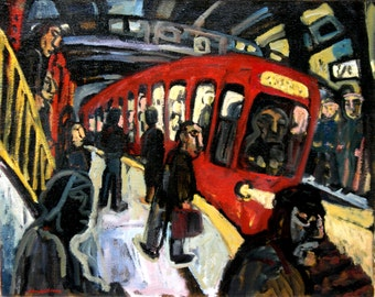 Oil Painting, Red Subway. Large Framed Oil on Canvas, Original Industrial Modern Expressionist Fine Art
