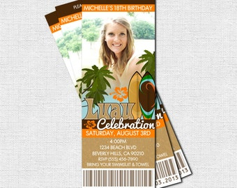LUAU TICKET INVITATION Summer Party - (print your own) Hawaiian Personalized Printable - Any Event