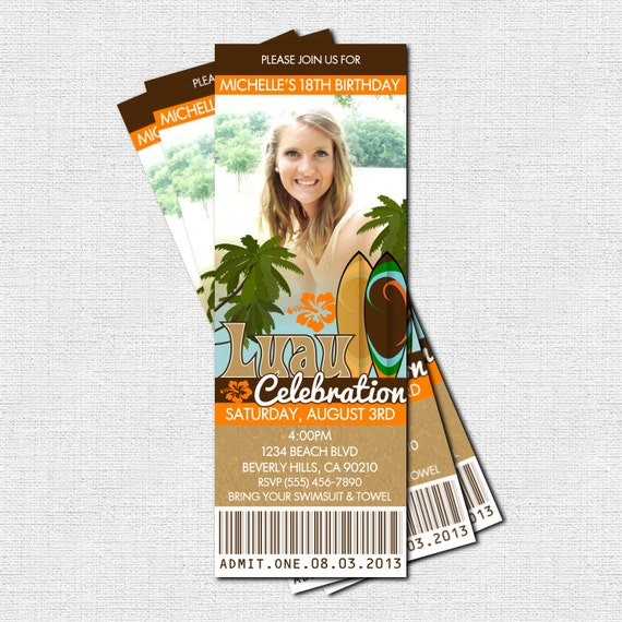 luau ticket invitation summer party print your own