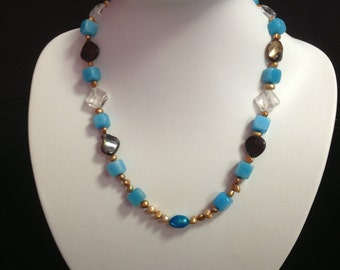 Blue Jade, C.FWP & MOP Shell Necklace, Beaded Necklace, Gemstone Necklace, Pearl Necklace, Mixed stone necklace