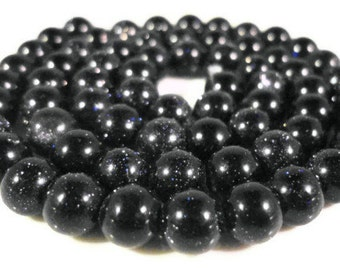 """Full Strand Blue Goldstone Beads 5mm-6mm Round Sparkly Dark Blue Man Made Faux Gemstone Beads for Jewelry on a 14 1/2"""" Strand with 65 Beads"""