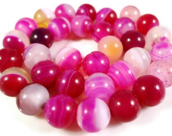 Pink Agate Gemstone Beads 6mm Round Fuchsia Hot Pink Striped Agate Dyed Stone Beads for Jewelry Making on a 7 1/4 Inch Strand with 31 Beads