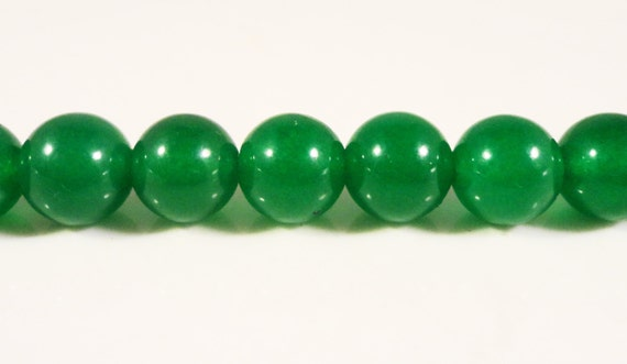 Green Jade Beads 8mm Round Dyed Candy Jade Gemstone Semiprecious Stone Beads for Jewelry Making on a 7 1/4 Inch Strand with 23 Beads