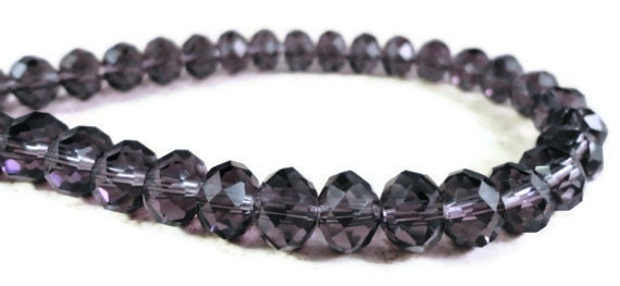 Crystal Rondelle Beads 8x6mm (6x8mm) Plum Purple Chinese Faceted Crystal Rondelles on a 7 1/2 Inch Strand with 34 Beads