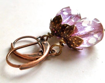 amethyst earrings  glass faceted drop dangle every day earrings, vintage style