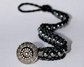Hematite Wrap Bracelet On Braided Black Cord With Beautiful Decorative Button