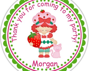Strawberry Shortcake - Personalized Stickers, Party Favor Tags, Thank You Tags, Gift Tags, Address labels, Birthday, Baby Shower