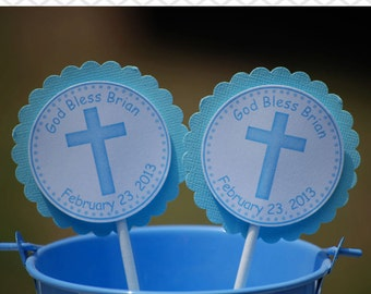 Cross Blue Baptism Christening First Holy Communion Cupcake Toppers - Set of 12 Personalized Relious Celebration Decorations