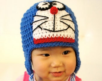 Doraemon Hat, Ding Dong, Crochet Baby Hat, Baby Hat, Animal Hat, photo prop, Inspired by Doraemon