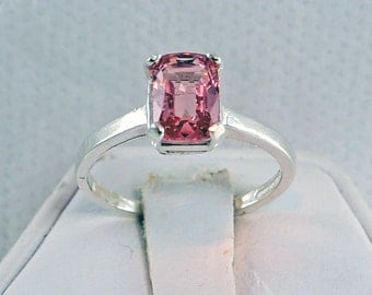 Pink Spinel Ring Cushion Cut 1.43 Carat  Sterling Silver  SIZE 5 3/4