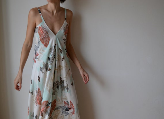 Maxi dress, low back. Feather print, coral, mint. Party, cocktail, prom. One size fits many. OOAK.