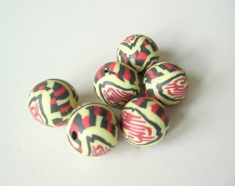 Polymer clay beads 15mm 6pcs
