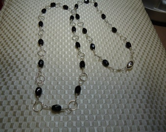 Wire Wrapped Faceted Black Onyx Sterling Silver Necklace   #735