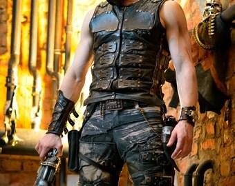 Post apocalyptic men's leather vest 'Apocalypse cinder'