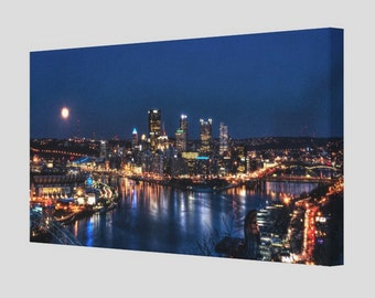 Canvas Panoramic Photograph Of Pittsburgh Skyline