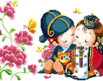 PDF file counted aida cross stitch korean baby pattern for wedding K130