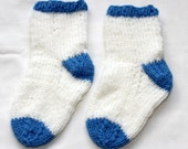 Knit Baby Socks - Bootie/Socks - White  with Blue Trim - Unisex