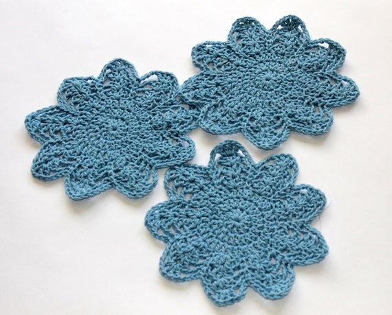 Cotton Dishcloth Set - Crocheted Dish Cloths - Cotton Wash Cloths - Blue - Set of 3
