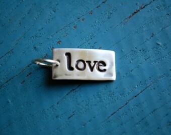 Silver Love Charm,  Fine Silver Love Pendant