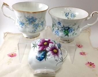 ON SALE, Vintage Bone China Teacups, Set of Three,Royal Albert and Paragon China, Downton Abbey Tea Party