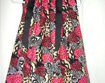 Hearts Zebras & Leopards  Pillowcase Dress Size 3 Months thru 6/7 :AN003