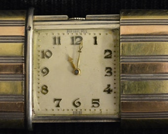 Vintage Movado Ermeto Travel Watch in 14k White, Yellow and Rose Gold
