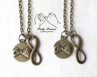 2 Bronze Infinity Pinky Promise Necklaces, Best Friends Forever, Infinity Charm, Couples Jewelry, Boyfriend Girlfriend Eternity Pinky Swear