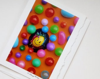 photo card bright eggs and smiley face