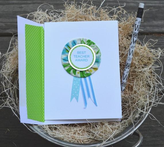 Teacher Appreciation Card / Teacher Thank You Card/ Best Teacher Card / Award Ribbon
