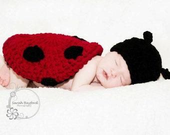Cute Crochet Baby Ladybug Photo Prop Set