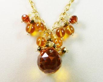 Crystal Necklace, Amber Crystal Necklace, Amber Necklace