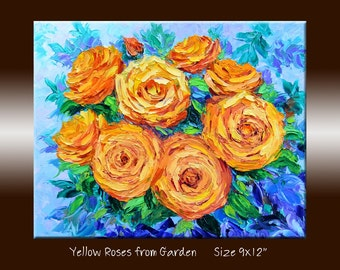 Yellow Rose Original Oil Painting Flowers Floral Wall Art Palette Knife Textured Impasto Oil Painting on Canvas 9x12