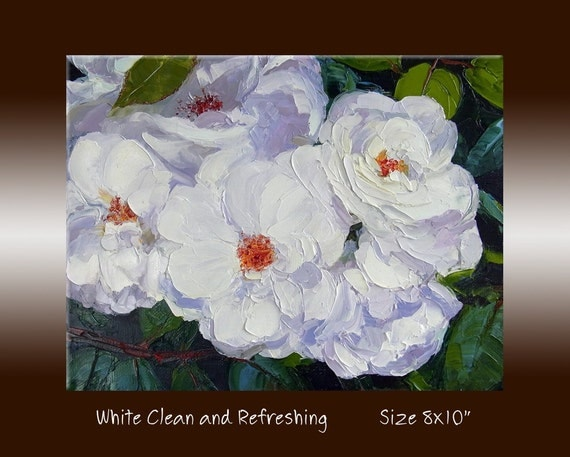 """Rose Oil Painting-Original Flower Textured Palette Knife - Small Oil  Painting on 8x10"""" Canvas, """"White Clean and Refreshing"""""""