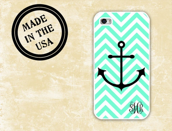 Mint Cute iPhone 4 case Anchor phone case iPhone case 4s - Tiffany blue chevron monogrammed Iphone cover 4 case 5 plastic or silicone (9960)