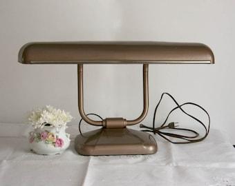 Vintage Machine Age Industrial Desk Lamp - 1960s copper color mid century mad men retro