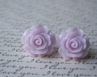 New Large Lavender Rose Earrings