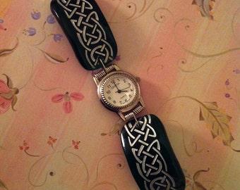 Sandcarved Celtic  Design Green Glass Watch