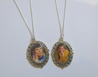 Spock or Captain Kirk Cameo Necklace