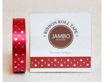 Adhesive Flora silver red ribbon roll deco tape by J&Bobbin