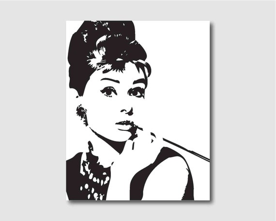 Modern wall art audrey hepburn in black and white room for Black and white celebrity prints