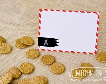 Pirate Party Thank You Notes- Printable- Red Black