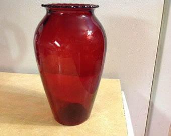 Vintage Ruby Red Vase With Scalloped Edge