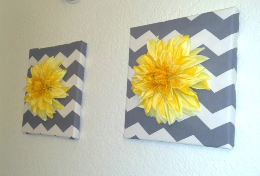 Yellow Flowers Wall Decor : Items similar to white gray yellow flower wall decor on etsy