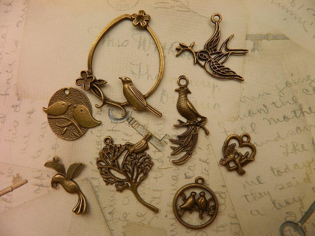 16 pcs assorted charms bird charm animal charm pendant vintage