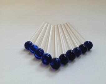 Glass Swizzle, Custom Swizzle Stick, Mixing Stick, Glass Beverage Stir, Blue Swizzle Stick