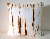 Decorative Throw Pillow Cover - Wood Brown - Unique Abstract Pattern - Hand Dyed Fabric - 14 x 14 - Batik - Tie Dye - Shibori