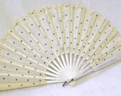 Stunning Antique French Hand Carved White Silk Lace & Wood Fan With Sterling Silver Sequins