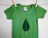 Cotton hand dyed green onesie with leaf - 18 mths
