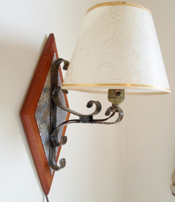 Vintage Wall Sconces Electric: Vintage Wall Sconce Rod Iron Hammered Metal With Lamp Shade